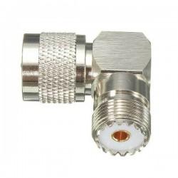 Adaptador UHF macho - UHF hembra, angular 90°
